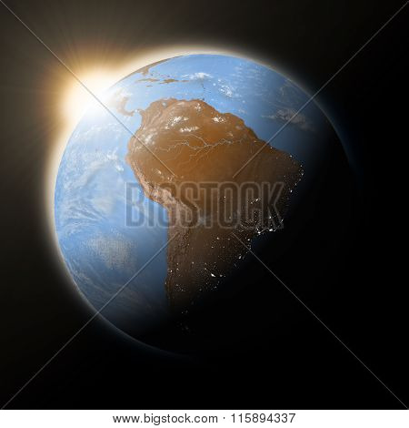 Sun Over South America On Planet Earth