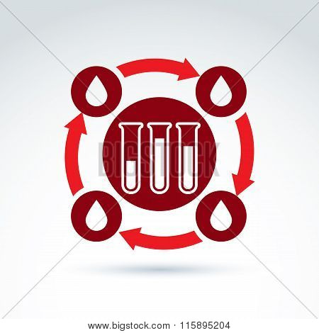 Donor Blood And Circulatory System Icon, Test Tube, Virus, Epidemic, Vector Conceptual Symbol