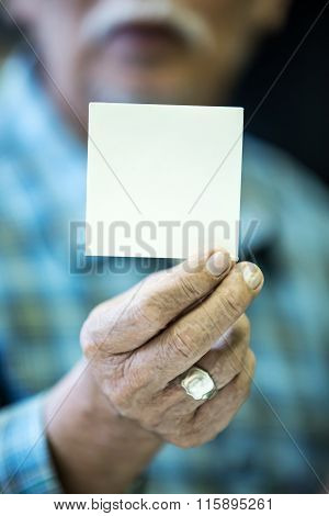 Asian Old Man Shows His Blank Business Card