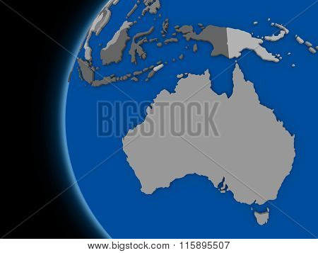 Australian Continent On Political Earth
