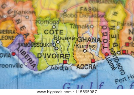 Cote Divoire Country Map .