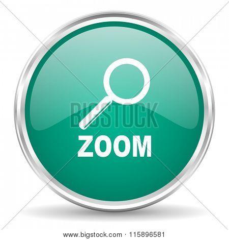 zoom blue glossy circle web icon