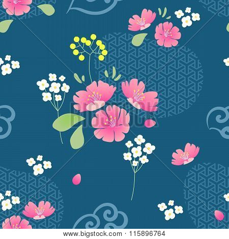 Abstract Flowers Seamless Pattern With Navy Background