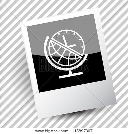 globe and clock. Photoframe. Raster icon.