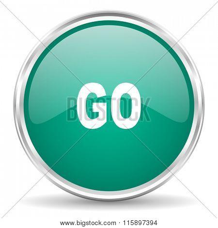 go blue glossy circle web icon