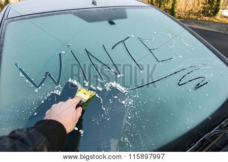Frozen Car Window