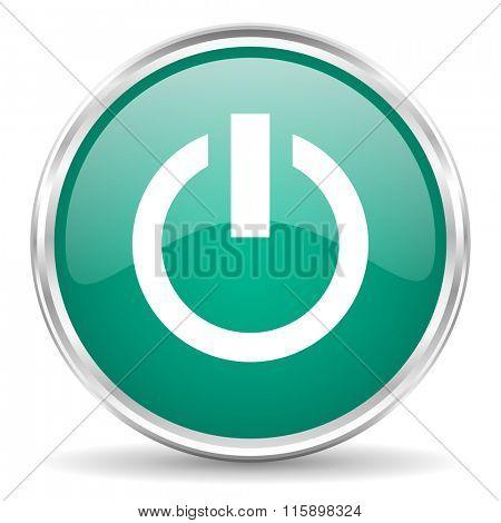 power blue glossy circle web icon