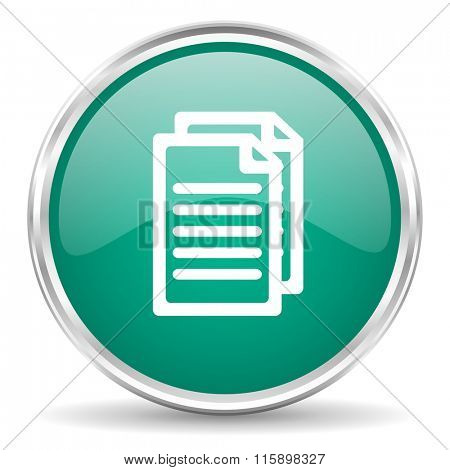 document blue glossy circle web icon
