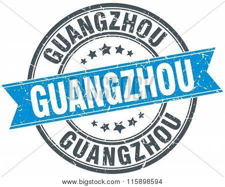 Guangzhou blue round grunge vintage ribbon stamp