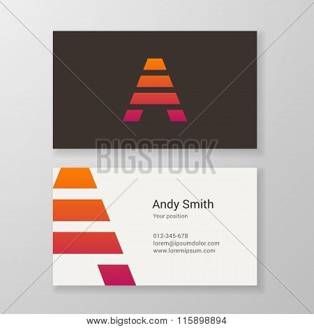 Letter A Stripes Business Card Template