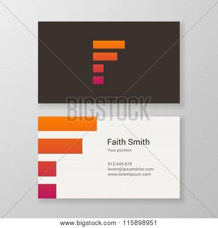 Letter F Stripes Business Card Template