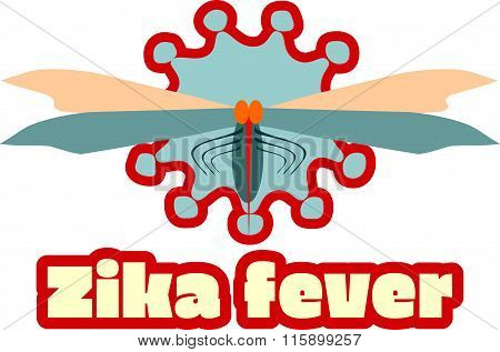 Abstract Virus, Mosquito Image And Zika Fever Text