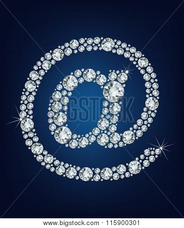 e mail icon, made from diamonds