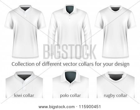 Different collars for your design. Vector illustration. Fully editable handmade mesh.