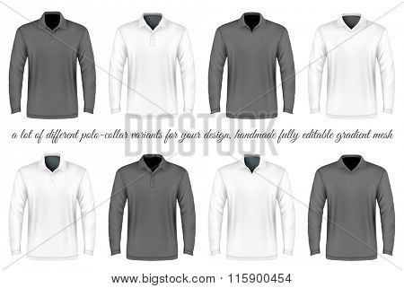Men's slim-fitting polo shirts. A Lot of different polo-collar variants. Vector illustration. Fully editable handmade mesh.