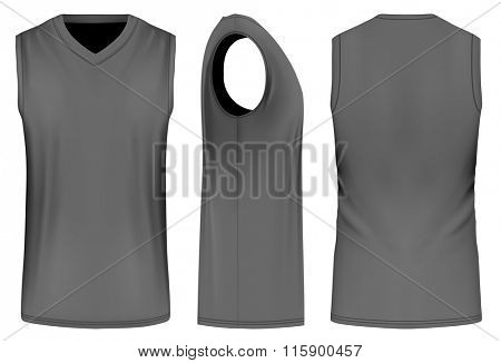 Basketball black tank top (front, back and side views). Fully editable handmade mesh. Vector illustration.