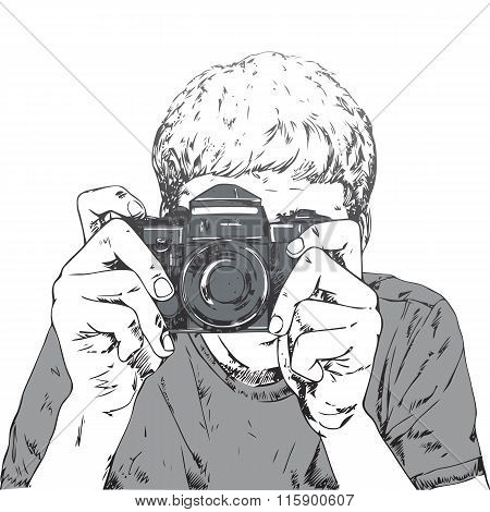 Drawing Of Young Photographer
