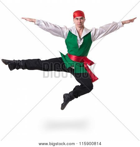 Dancing man wearing a pirate costume jumping, isolated on white in full length.