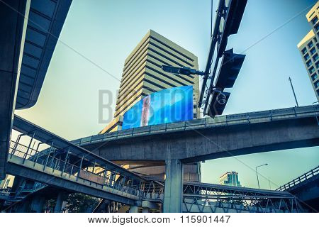 Bangkok Silom Road Junction With Skytrain