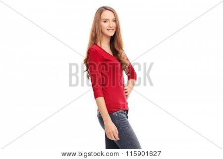 Young brunette woman in casual clothes posing isolated on white background