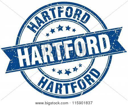 Hartford blue round grunge vintage ribbon stamp