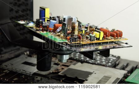 Electronics production plant. Radio components mounted on elecronic board