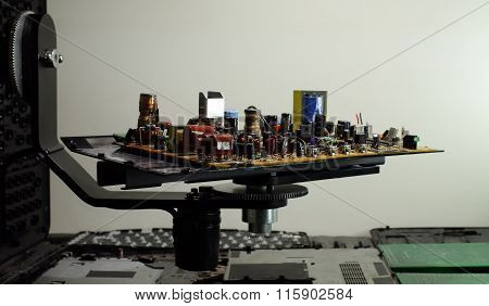 Electronic board with radio components at electronics plant conveyor