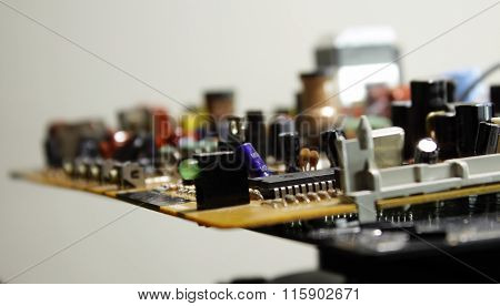 Radio components on elecronic board macro shot