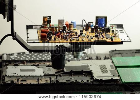 Radio components on electronic board at electronics factory