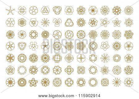Set of vector round design elements.