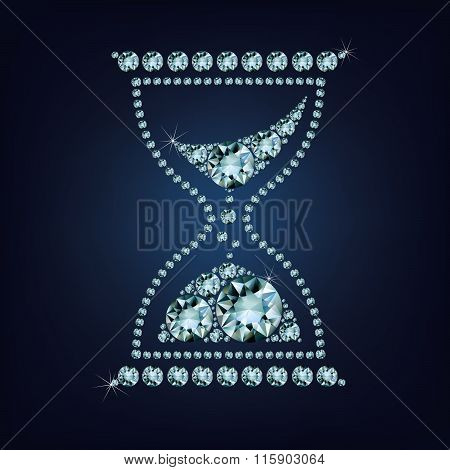 Hourglass vector icon made up a lot of diamonds on the black background