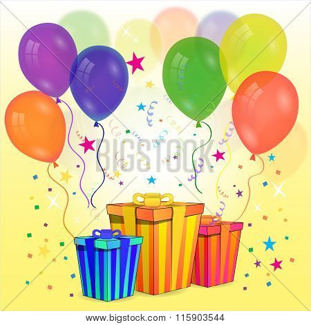 Gift Box With Party Ballons And Streamers, Concept For An Exciting Birthday Or Other Gift Or Present