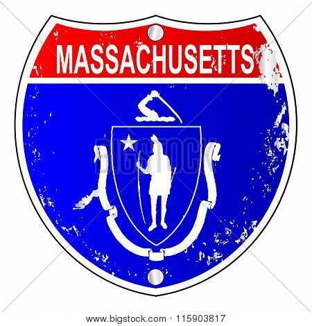 Massachusetts Flag Icons As Interstate Sign