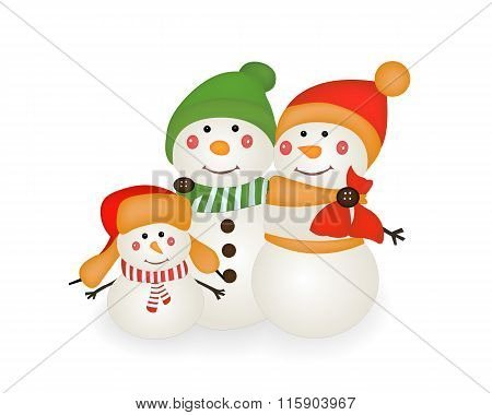 Snowmen isolated on white background