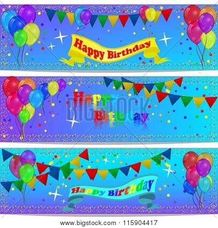 Holiday Banners With Colorful Balloons.