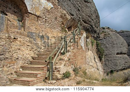 Montserrat, Spain - August 28, 2012: The Stairs To The Hermitage Of Saint Onofre At Montserrat Monas