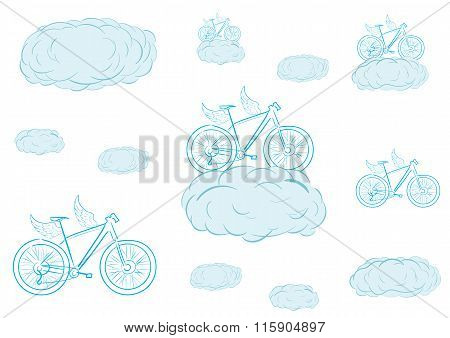 Flying bicycles in clouds