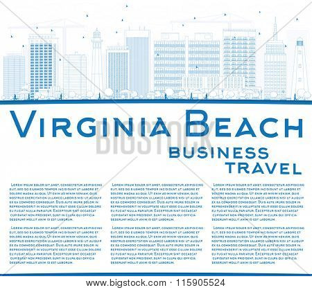 Outline Virginia Beach (Virginia) Skyline with Blue Buildings. Business Travel and Tourism Concept. Image for Presentation, Banner, Placard and Web Site.