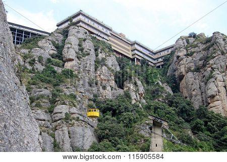 Montserrat, Spain - August 28, 2012: Cableway To Benedictine Abbey Santa Maria De Montserrat In Moni
