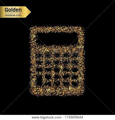 Gold glitter vector icon of calculator isolated on background. Art creative concept illustration for