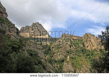 Montserrat, Spain - August 28, 2012: Benedictine Abbey Santa Maria De Montserrat In Monistrol De Mon