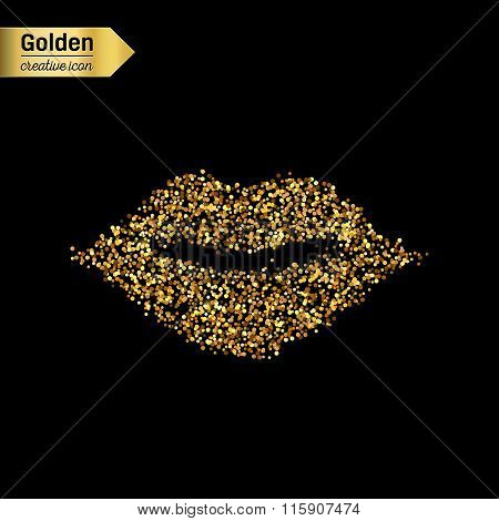 Gold glitter vector icon of mouth isolated on background. Art creative concept illustration for web,