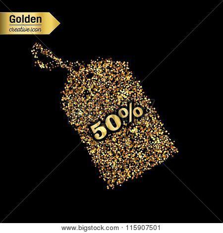 Gold glitter vector icon of tag discounted isolated on background. Art creative concept illustration
