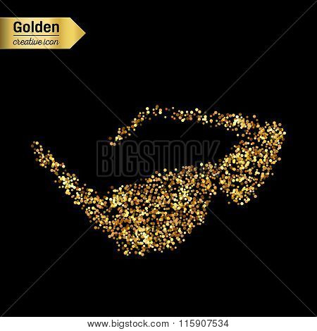 Gold glitter vector icon of sun glasses isolated on background. Art creative concept illustration fo