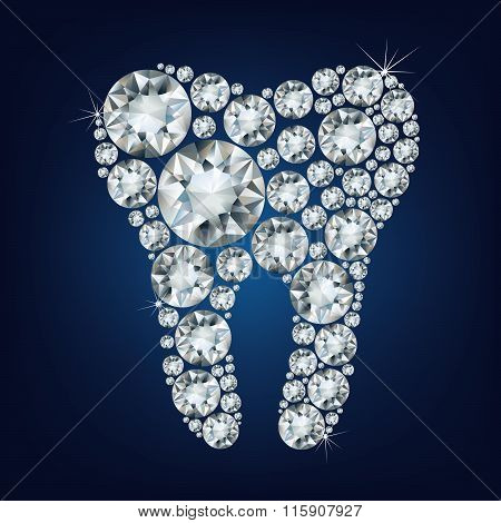 illustration of tooth made up a lot of diamonds on the black background