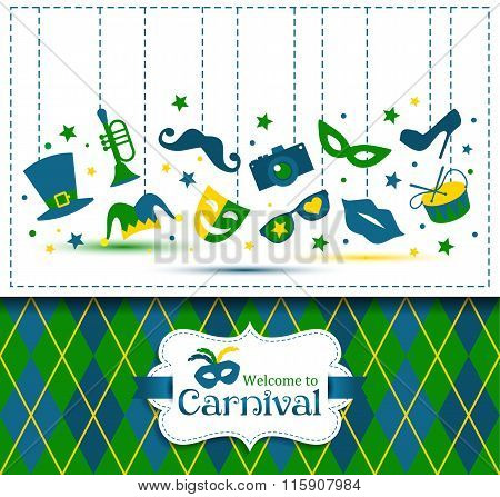 Bright Vector Carnival Illustration And  Welcome To Carnival