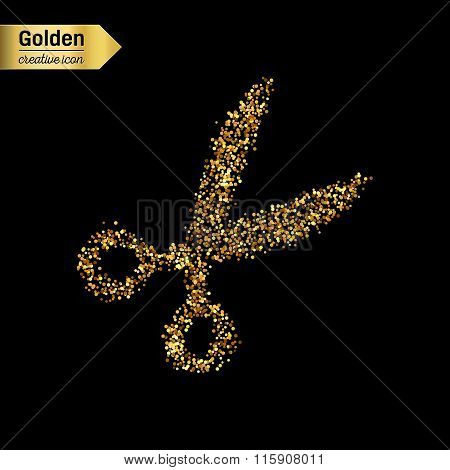 Gold glitter vector icon of scissor isolated on background. Art creative concept illustration for we