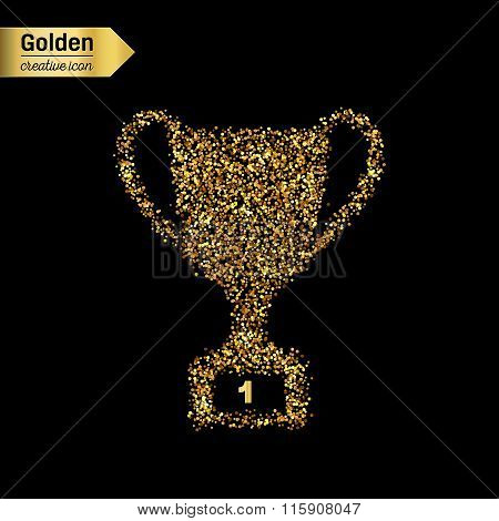 Gold glitter vector icon of trophy cup isolated on background. Art creative concept illustration for