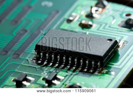 Black Chip On Circuit Board