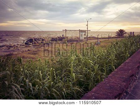 Empty Coast Of Montevideo Uruguay